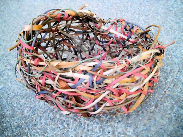 random weave basket by Salt Spring Island basketry artist Judy Goodman