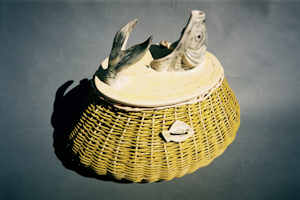 fish creel with basket and pottery lid